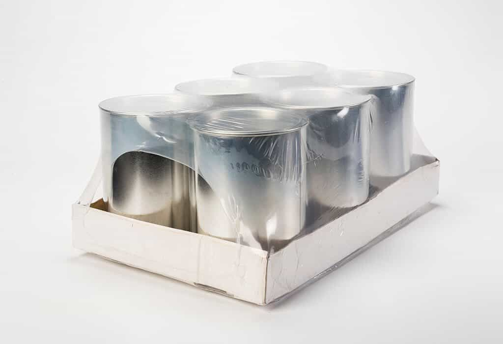 industrial tin trays shrinkwrapped for transportation